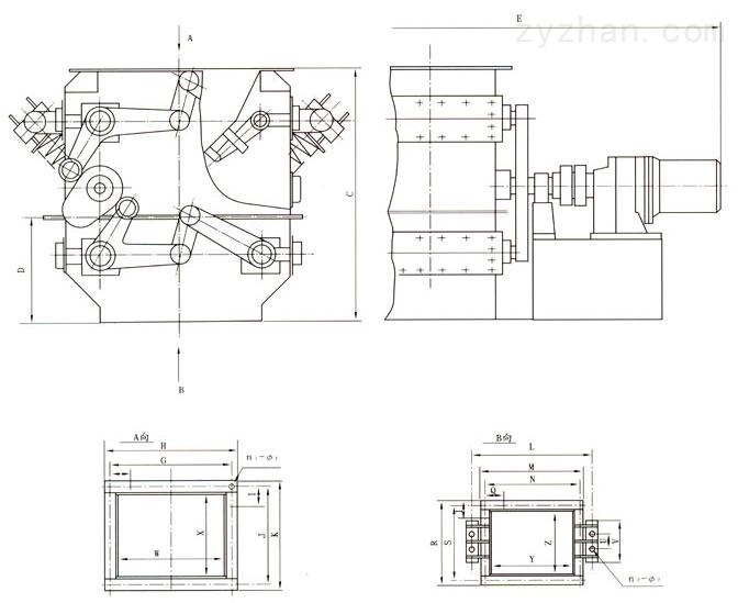 LDXF二道锁风阀外形结构尺寸图