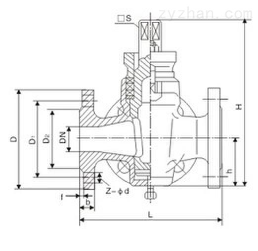 X44W-1.0C三通铸钢法兰式旋塞阀主要连接尺寸图