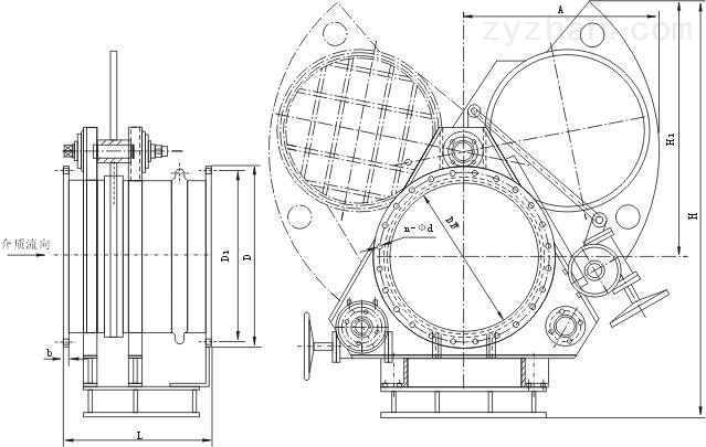 F343CX蜗轮扇形眼镜阀外形结构尺寸图