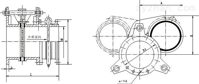 F43X手动扇形眼镜阀外形结构尺寸图