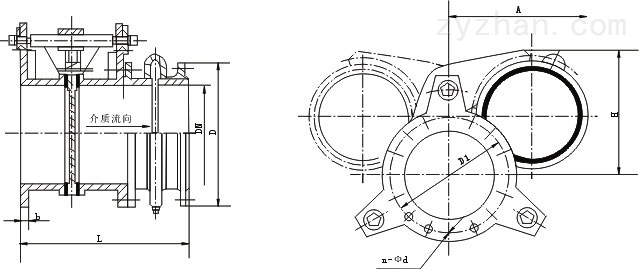 F743X液动扇形眼镜阀外形结构尺寸图