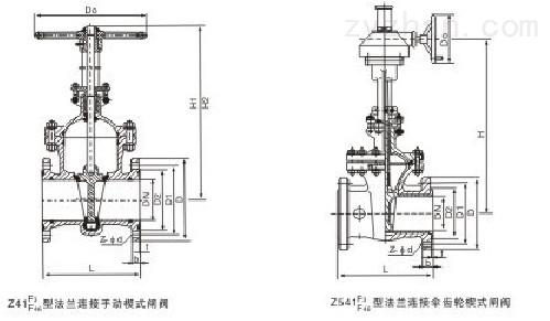 Z41J手动法兰式衬胶闸阀主要连接及外形尺寸图