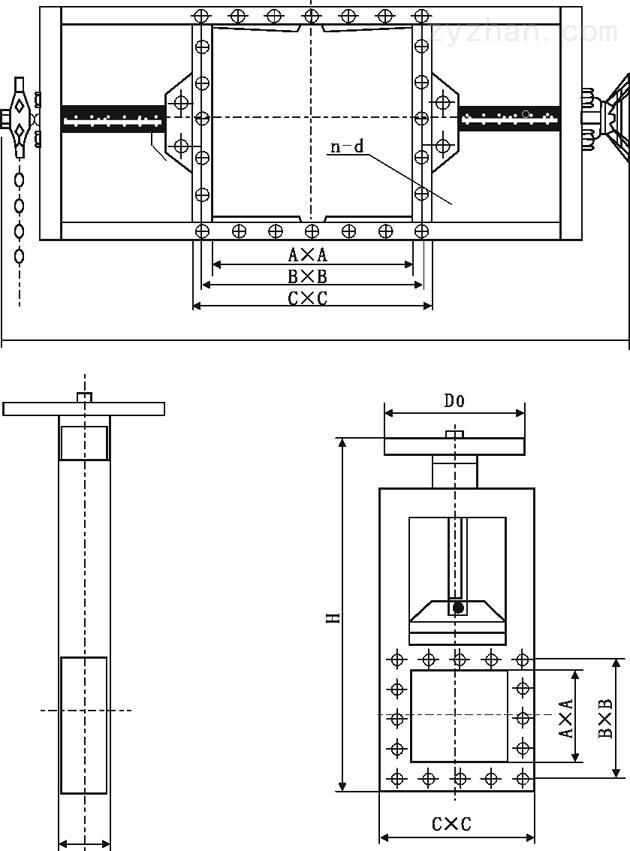 LMD型气动螺旋闸门/气动插板阀外形尺寸图