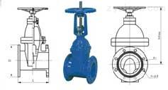 Z45X-10、Z45X-16型弹性座封手动闸阀外形尺寸图