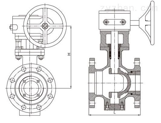 双偏心半球阀结构图