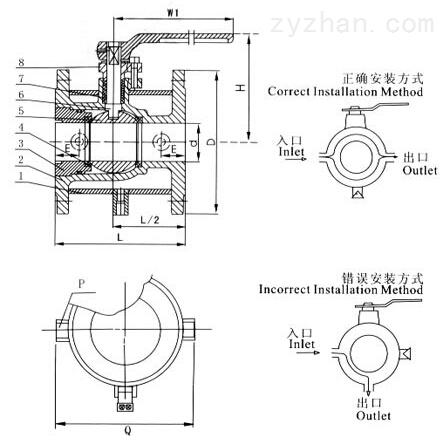 BQ41F保温夹套球阀结构图