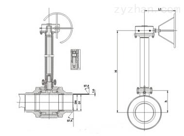 Q61F/H/Y加长杆埋地式全焊接球阀结构图